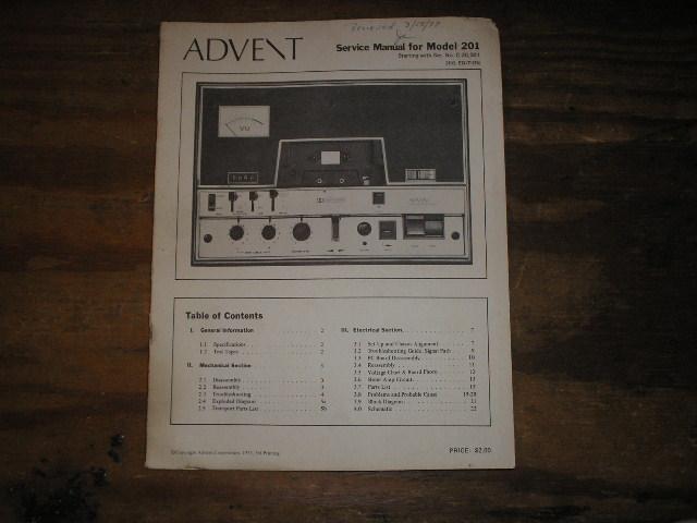 Advent 201 Cassette Deck Service Manual.