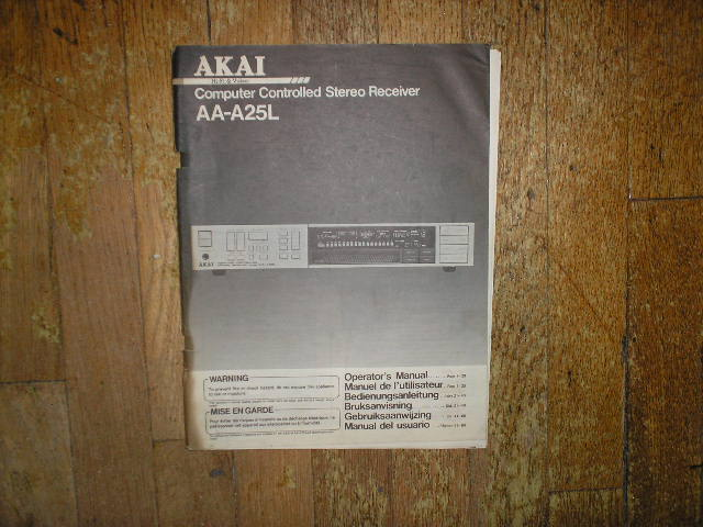 AA-A25L Receiver Operators Manual
