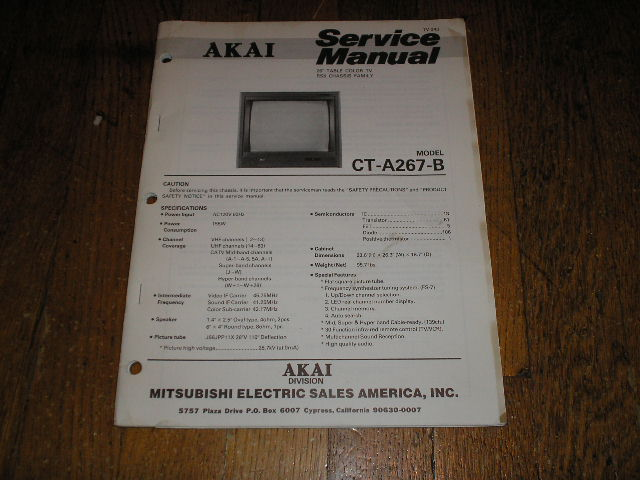 CT-A267-B 26 Inch Color T.V.Service Manual