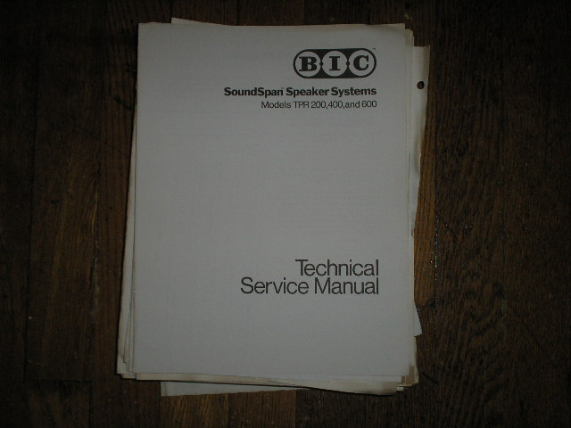 TPR 200 400 600 Speaker Service Manual