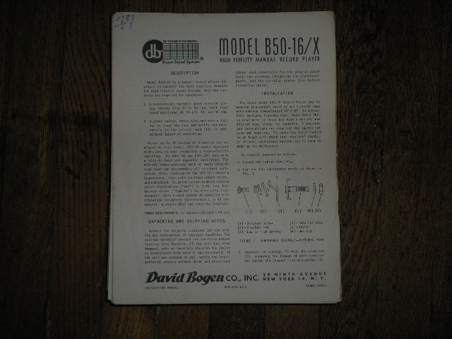 B50-16/X Record Player   Instruction Manual. Contains a Parts list, Some service Instructions, Operating Info.