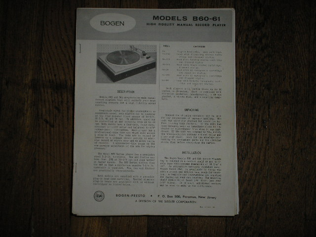 B60 B61  Record Player   Instruction Manual. Contains, some service Instructions, Operating Info. Cartridge adjustments