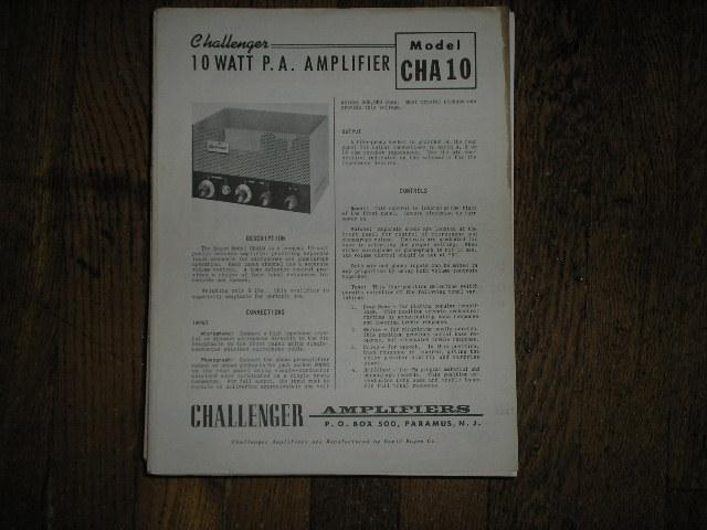 CHA10 Challenger P. A. Amplifier Schematic