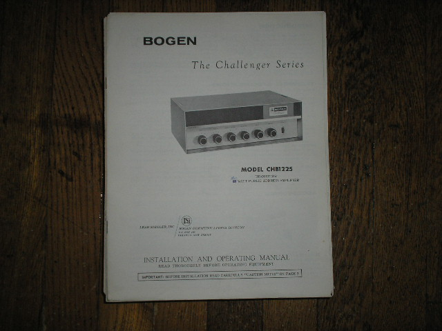 CHB1225 Challenger P. A. Amplifier Service and Instruction Manual with Schematic