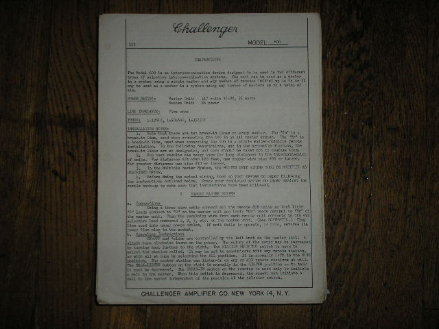 600 Challenger P. A. Amplifier Service and Instruction Manual with Schematic