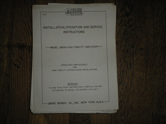 DB10A High Fidelity Amplifier Service and Instruction Manual with Schematic