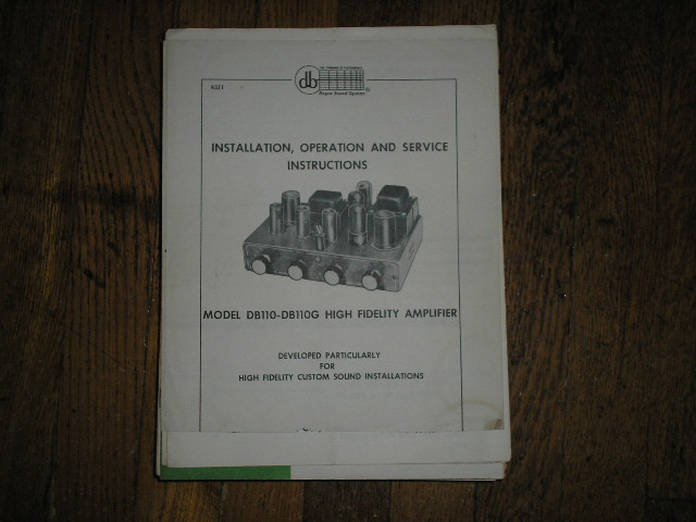 DB110 High Fidelity Amplifier Service and Instruction Manual with Schematic