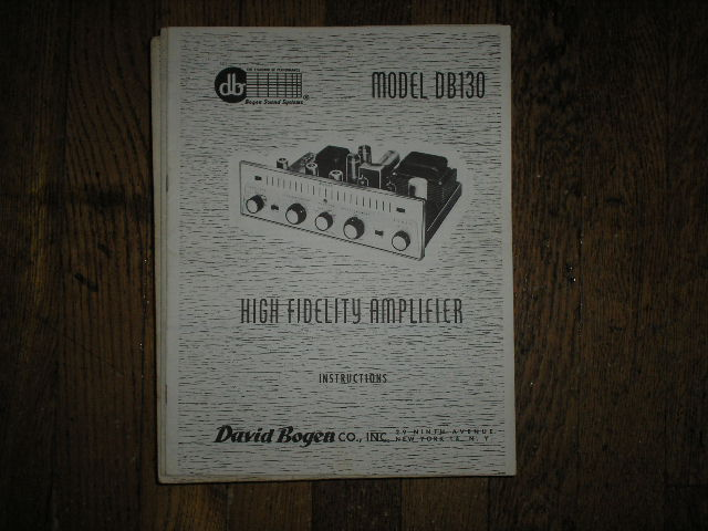 DB130 High Fidelity Amplifier Service and Instruction Manual with Schematic.  Schematic shows a single 5U4GB Vacuum Tube in the Power Supply