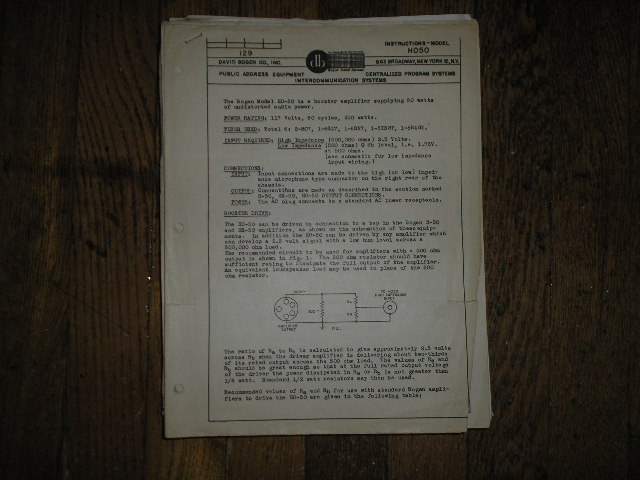 FM801 High Fidelity Tuner  Service and Instruction Manual with Schematic