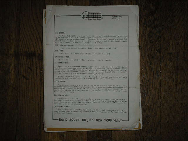 HO-125 Amplifier Service and Instruction Manual with Schematic