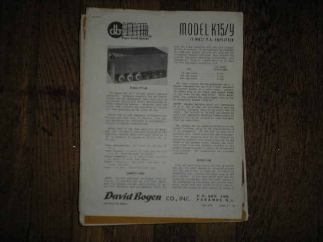 K15 K15Y  P. A. Amplifier Service and Instruction Manual
