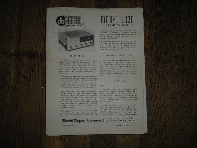 L330 Challenger P. A. Amplifier Service and Instruction Manual with Schematic
