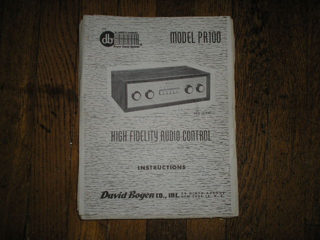 PR100 High Fidelity AUDIO CONTROLLER  Service and Instruction Manual with Schematic