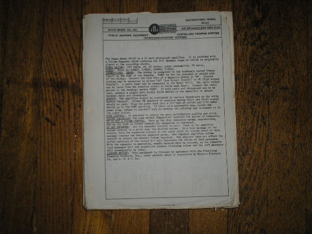 PV-10  AMPLIFIER  Service and Instruction Manual