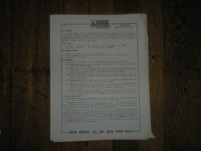VP17 VP17X   RECORD PLAYER   Instruction Manual with Schematics