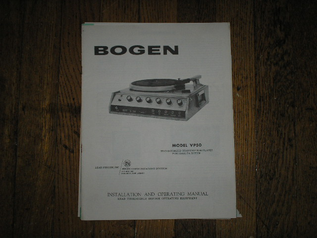 VP50 RECORD PLAYER   Instruction Manual with Schematics