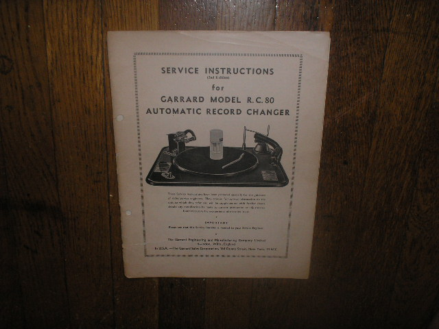 RC-80 PHONOGRAPH Turntable Service Manual 2