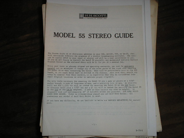 Model 55 Operating Instruction Manual