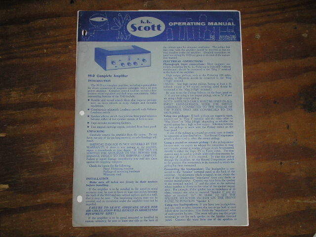 Model 99-D Amplifier Operating Instruction Manual with schematic
