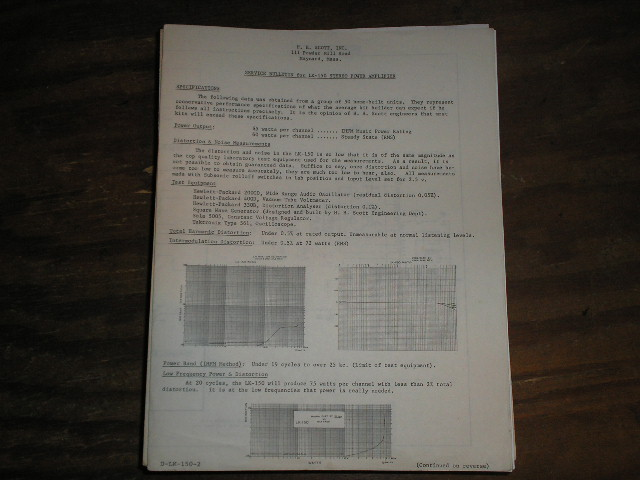 LK-150 Power Amplifier Service Manual..Schematic is dated July 26th 1961