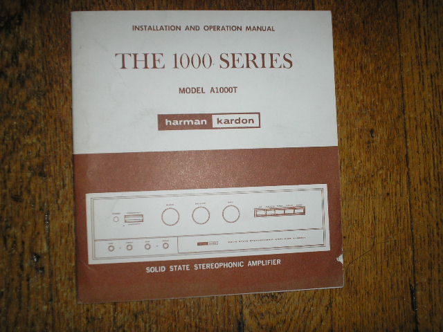 Model A1000T Amplifier Operating Instruction Manual