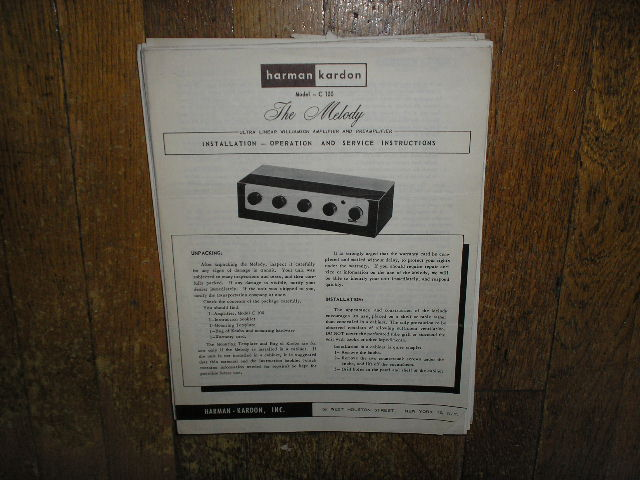 Model C-100 The Melody Amplifier Pre-Amplifier Service Information
