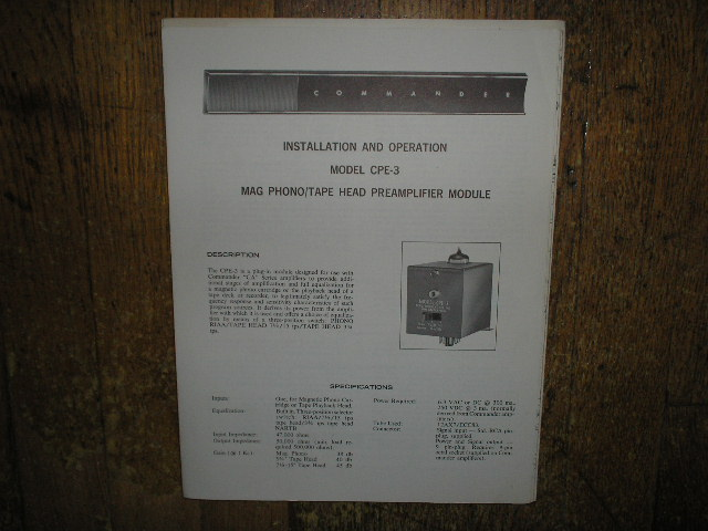 CPE-3 Pre-Amplifier Module Service Information