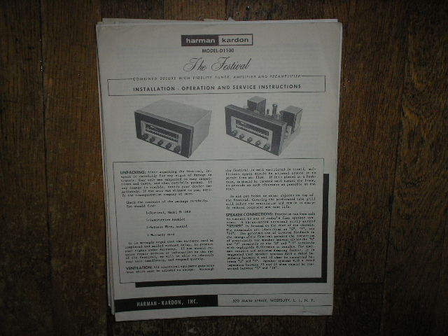 Model D-1100 Amplifier Tuner Operating Instruction Manual