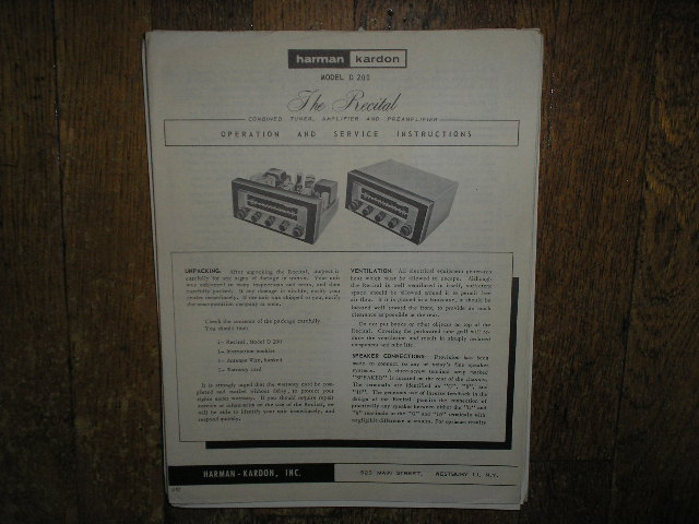 D-200 The Recital Tuner Amplifier Service Information