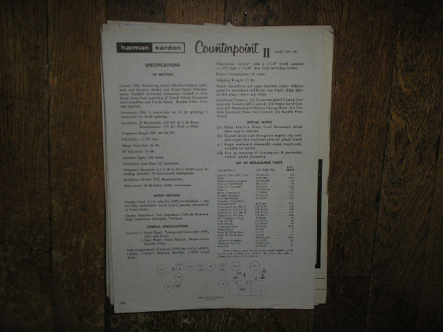 FM-100 Counterpoint II Tuner Service Information