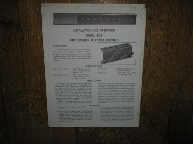 SS-8 Speaker Selector Assembly Service Information