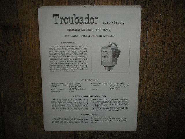 TSM-2 Troubador Siren Foghorn Module Service Information