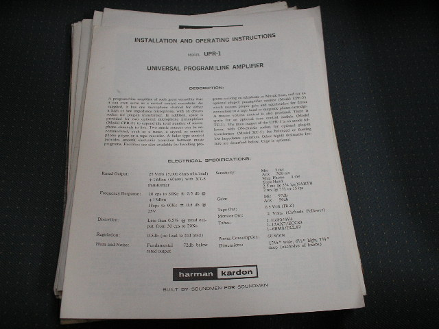 UPR-1 Line Amplifier Manual with Schematic