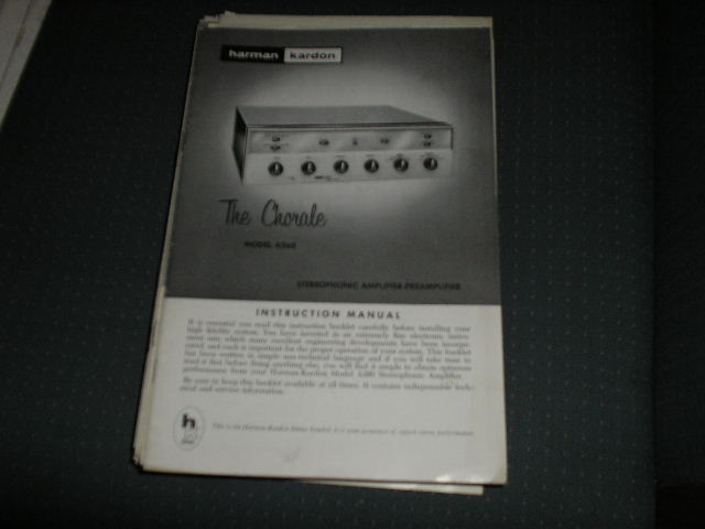 A260 The Chorale Stereo Pre-Amplifier manual with schematic