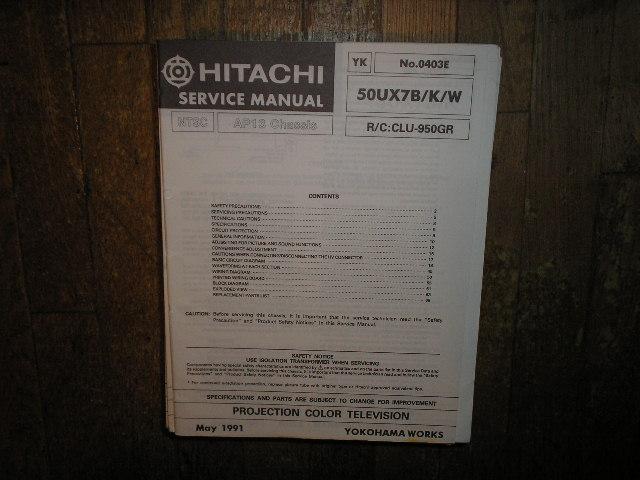 46UX7 B K 46UX10BA 46UX11KA 50UX7 B K W Projection Television Service Manual AP13 Chassis