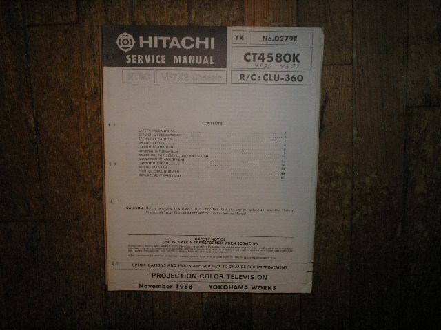 CT4520K CT4521K CT4580K Projection Television Service Manual. VP7X2 Chassis