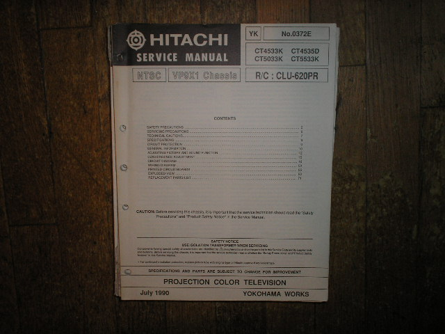 CT4533K CT4535D CT5033K CT5533K Projection TV Service Manual. VP9X1 Chassis