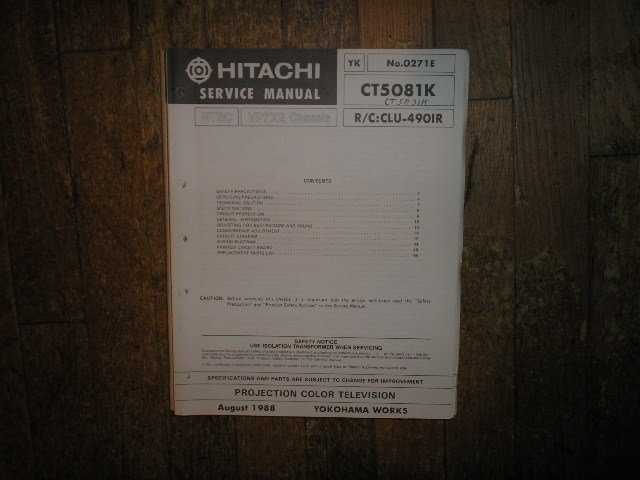 CT5031K CT5081K Projection TV Service Manual