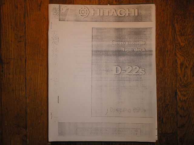 D-22S Stereo Cassette Tape Deck Service Manual