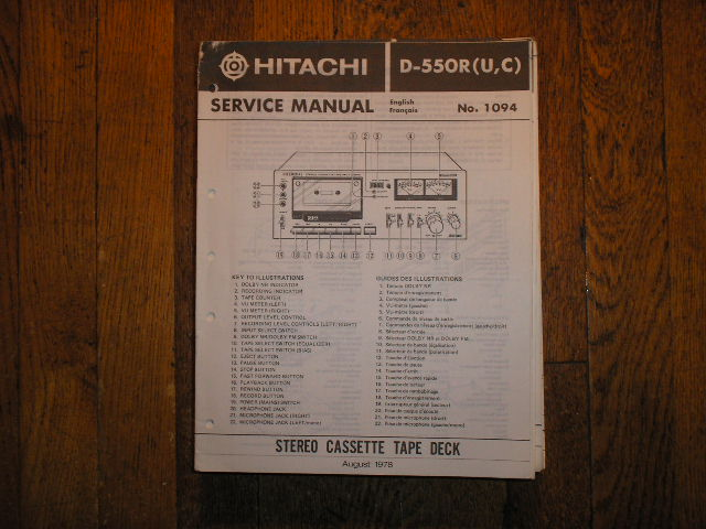 D-550R RU RC Stereo Cassette Tape Deck Service Manual