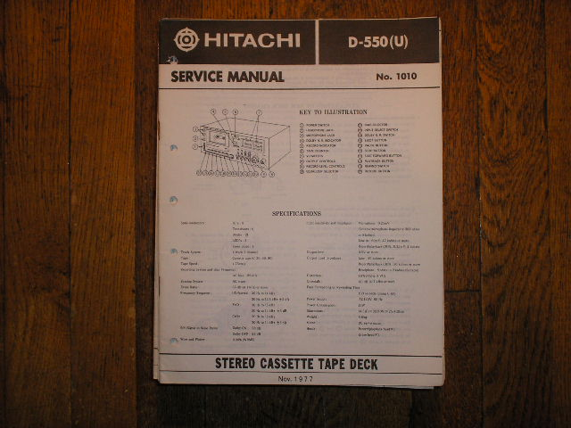 D-550 U Stereo Cassette Tape Deck Service Manual