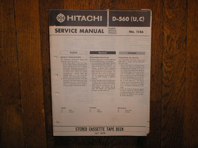 D-560 U C Stereo Cassette Tape Deck Service Manual