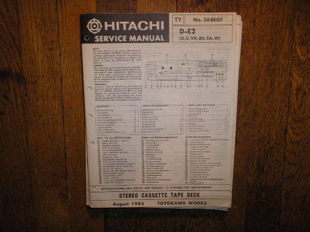 D-E2 U C VK BS SA W Stereo Cassette Tape Deck Service Manual