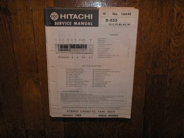 D-E33 U C W FS BS AU Stereo Cassette Tape Deck Service Manual