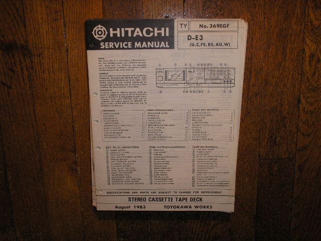 D-E3 U C FS BS AU W Stereo Cassette Tape Deck Service Manual