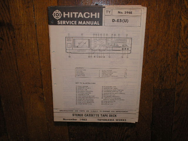 D-E5 U Stereo Cassette Tape Deck Service Manual