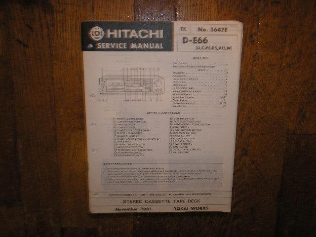 D-E66 U C W FS BS AU Stereo Cassette Tape Deck Service Manual