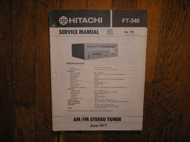 FT-340 AM FM Tuner Service Manual