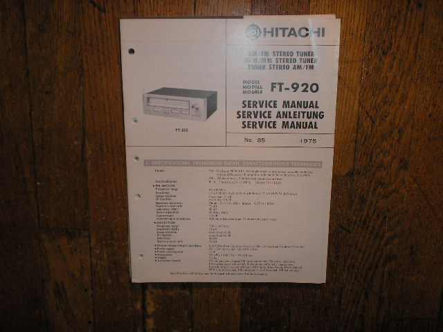 FT-920 AM FM Tuner Service Manual   Comes with 4 page Supplement
