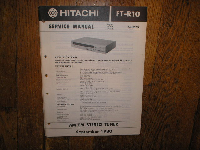 FT-R10 AM FM Tuner Service Manual